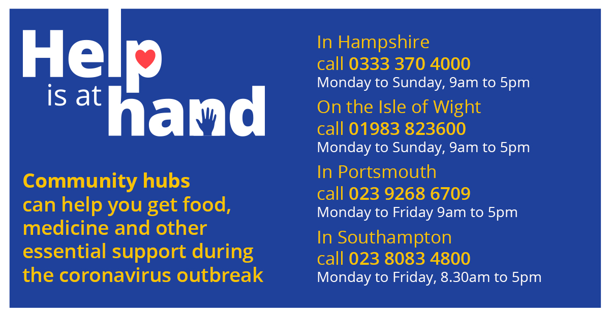 Help is at hand.  Community hubs can help you get food, medicine and other essential support during the coronavirus outbreak